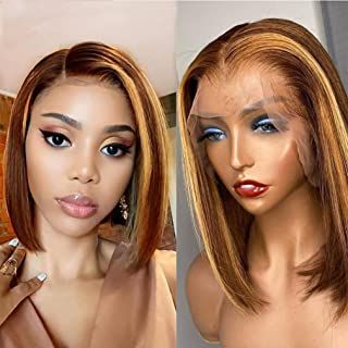 Highlight Glueless Bob Wig VIPbeauty Brazilian Straight Ombre Brown Honey Blonde Short Lace Front Human Hair Wigs For Wome...
