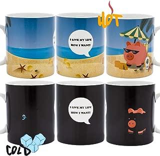 InGwest - New Year Pig Coffee Mug. Pig on the Beach Mug! Changing Color Mug. Heat Sensitive Mug.