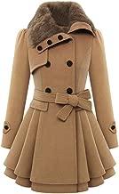 iYYVV Womens Windbreaker Warm Outwear Asymmetrical Button Hem Cloak Fleece Jacket Coat