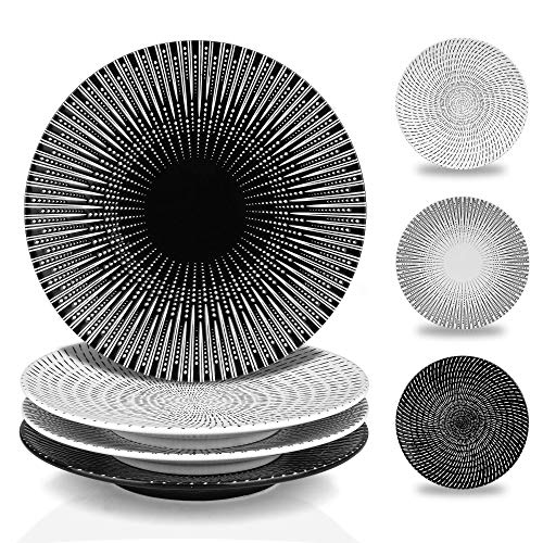 MARSTRACE 8.25 Inch Creative Porcelain Dinner Plates Set of 4,Black and White Multiple Stripes Patterns Ceramic Serving Plate for Salad or Pasta