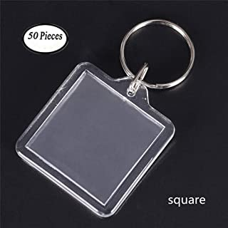 King&Pig 50pcs Key Chains Key Rings with Transparent Clear Picture Photo Frames can open Keychains (square)