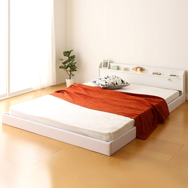 ずらすサバント反響する日本製 連結ベッド 照明付き フロアベッド ワイドキングサイズ260cm(SD+D) 【ボンネルコイル(外周のみポケットコイル)マットレス付き】『Tonarine』トナリネ ホワイト 白