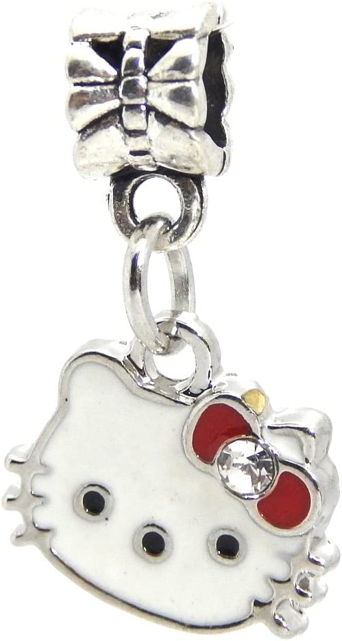 J&M Hello Kitty with Crystal Red Bow Charm Bead for Bracelets