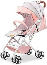 WRJY Silla de Paseo Plegable para niños G-Luxe Stroller The One Handed Plegable Holiday Holiday Stroller con Respaldo reclinable (Color: Rosa)
