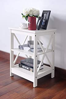 RAAMZO White Finish Wooden X-Design Chair Side End Table with 3-Tier Shelf