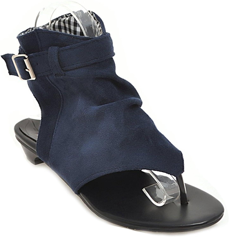 GIY Women's Bohemian Flat Flip Flops Sandals Suede Open Toe Zipper Roman Summer Beach Sandals Bootie shoes
