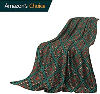 Native American Yoga Blanket,Ancient Border Ethnic Tribal Symbol Antique Design Tile Pattern Print Cozy Blanket for Couch Sofa Bed Beach Travel,70