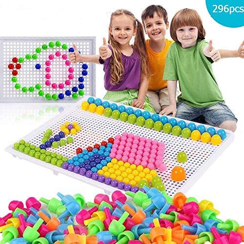 296 Stecker Puzzle Steckspiel Pilz Nägel Pädagogische Baustein Spielzeug Kreative DIY Mosaik Spielzeug Steckpuzzle Lernspielzeug Geburtstag Weihnachtsfest-Geschenk für Kinder Baby ab 3 Jahre alt