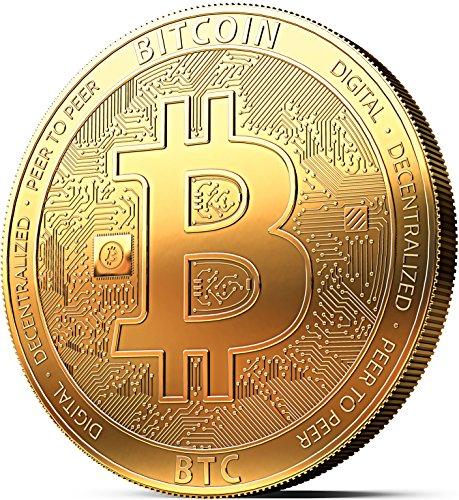 innoGadgets Physische Bitcoin Medaille mit 24-Karat Echt-Gold überzogen. Wahres Sammlerstück mit Münzkapsel - Kollektion 2020. EIN Muss für jeden Krypto-Fan