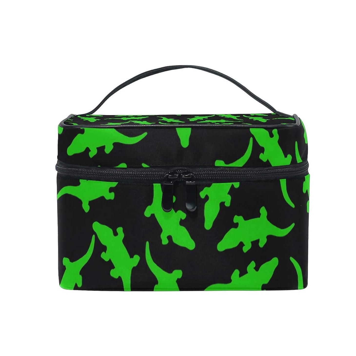 財団控えめな聖なるメイクボックス ワニ柄 緑柄 水柄 化粧ポーチ 化粧品 化粧道具 小物入れ メイクブラシバッグ 大容量 旅行用 収納ケース
