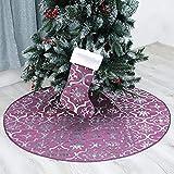 CAVIVIUK Falda para árbol de Navidad de 48 pulgadas, color rojo, para árbol de Navidad, con calcetín, para decoración de Navidad, color morado