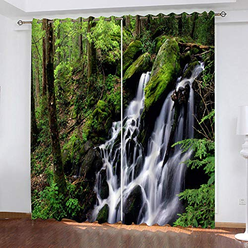 LOVEXOO Curtains Forest creek 28.54'x96.46' Printed Window Treatments Thermal Insulated Curtains Eyelet Blackout Grommets Curtains 2 Panels - Door Window Decorating