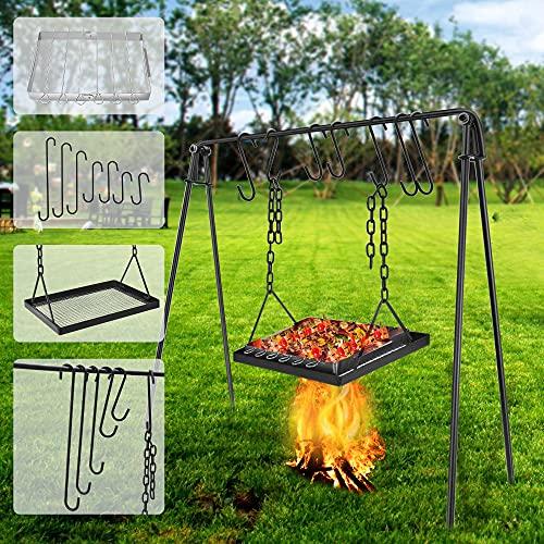 Parrilla de carbón portátil para barbacoa con ganchos y accesorios,Kacsoo Parrilla de Barbacoa de carbón Altura ajustable 94*32*12 cm, Barbecue Grill,para fiestas en el jardín, patio(3)