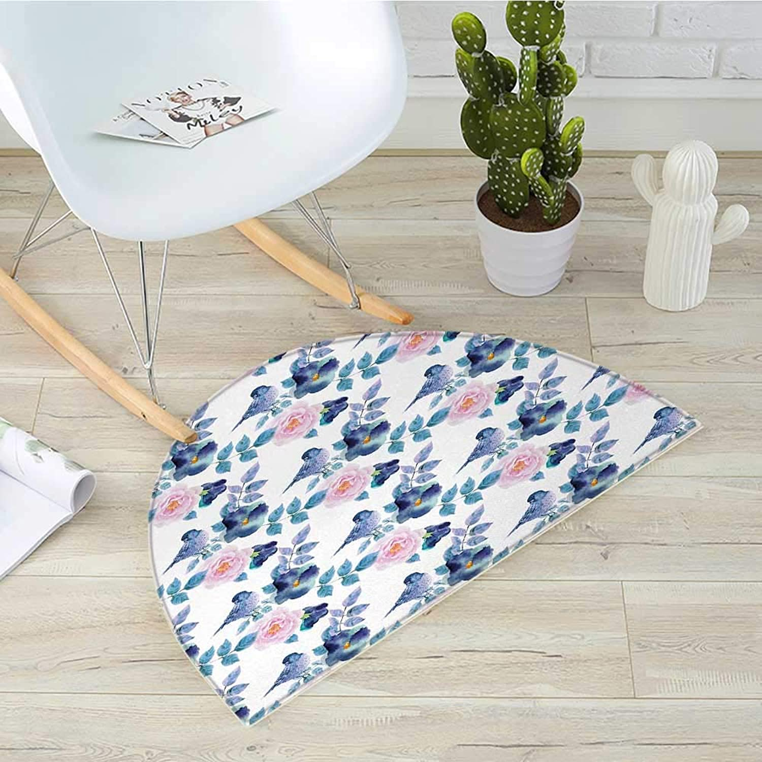 Animal Semicircle Doormat Spring Birds Sparrows with Branches Watercolor Leaves Artwork Halfmoon doormats H 31.5  xD 47.2  Sky bluee White and Royal bluee