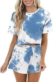 Women's Waffle Knit Pajama Set Long/Short Sleeve Top and...