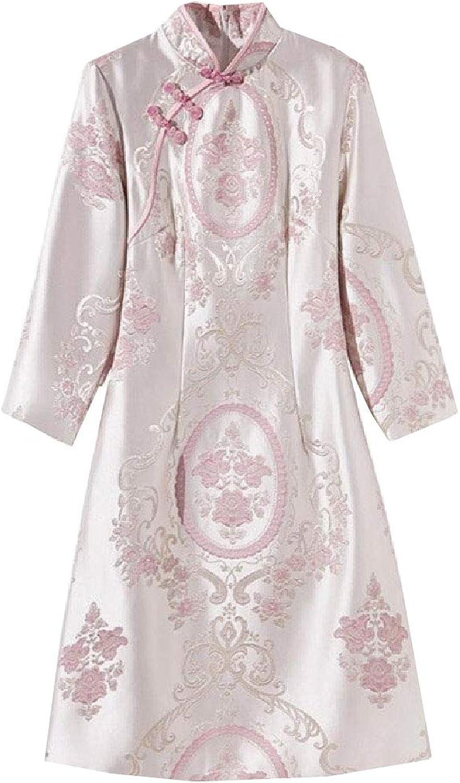 Nicelly Womens Button Up Embroidery Jacquard Fashion Qipao Dress Cheongsam