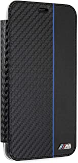 CG Mobile Bookstyle Cell Phone Case for iPhone Xs Max Black Navy-Colored Stripe Pu Leather Carbon Fiber Inspired Design Ea...