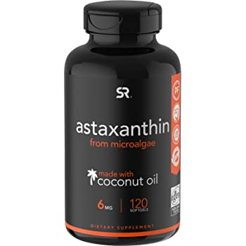 Astaxanthin (6mg) with Organic Coconut Oil for Better Absorption - 120 Softgels