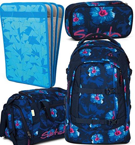 satch pack Waikiki Blue 4er Set Schulrucksack, Sporttasche, Schlamperbox & Heftebox Blau