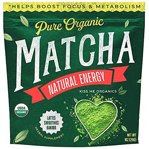 Kiss Me Organics Matcha Green Tea Powder - Japanese Culinary Grade 100% Organic Matcha Powder for Latte Making & Baking - 1 Ounce