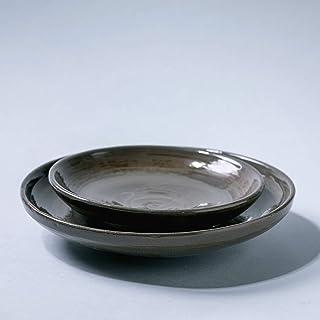 Juego de cerámica vintage rústico hecho a mano, cuenco de plato de 2 piezas, decoración del hogar, esmalte marrón oscuro c...