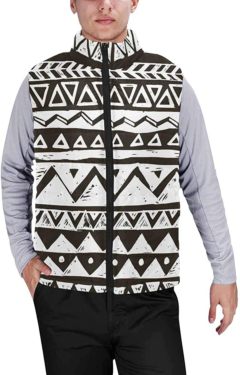 InterestPrint Casual Classic Quilted Sleeveless Vest for Men Hand Draw Tribal Aztec S