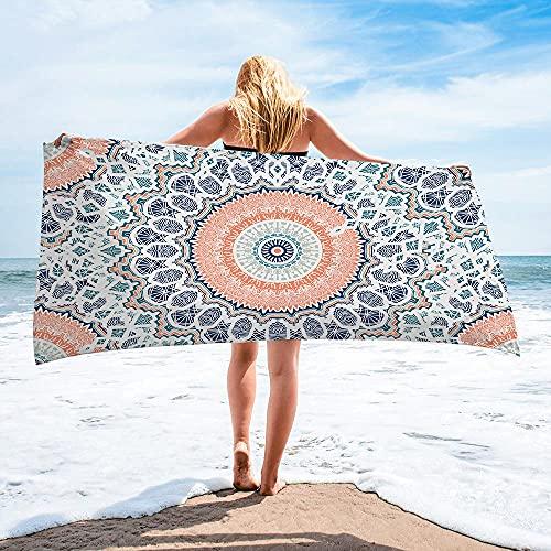 Surwin Toalla de Playa Grande, Microfibra Bohemia Impresión Secado Rápido Toalla de Piscina Toalla de Arena Antiadherente para Verano Playa, Yoga, Picnic, Hotel (Bohemia,80x160cm) ⭐