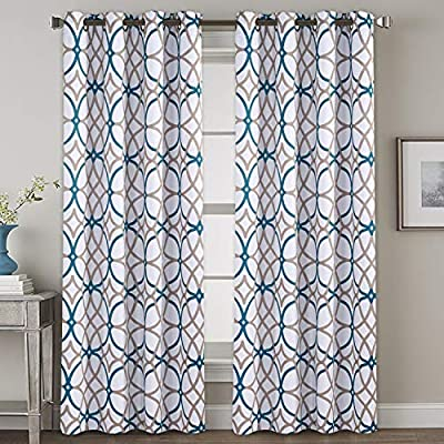 H.VERSAILTEX Window Treatment Curtains for Bedroom Thermal Insulated Blackout Curtains for Living Room 96 inch Length, Thick and Soft Grommet Curtains (2 Panels), Teal and Taupe Geo Pattern