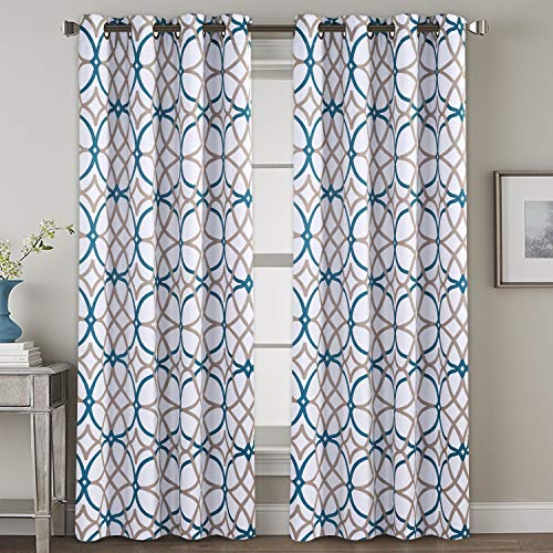 H.VERSAILTEX Bedroom Blackout Curtain Panels - Home Fashion Teal and Taupe Geo Pattern Energy Saving Window Treatment Ring Top Blackout Draperies and Drapes (52' x 108', Set of 2 Panels)
