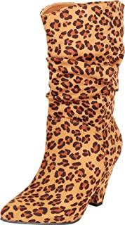 Cambridge Select Women's Pointed Toe Slouch Chunky Cone Heel Mid-Calf Boot