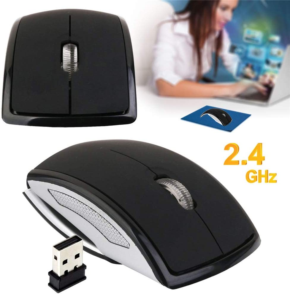 Black UBEI Wireless Mouse USB 2.4G Computer Mouse Foldable Travel Mouse Folding Mini Mouse Easy to Carry for Laptop Notebook Desktop Computer