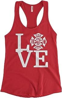 Cybertela Women's Love The Fire Department Firefighter Racerback Tank Top