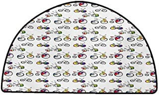 Multi-USE Floor MAT Bicycle,Hand Drawn Penny-Farthing Tandem and City Bikes with Colored Rims Cartoon Style,Multicolor,W30 x L18 Half Round Floor mats for Trucks