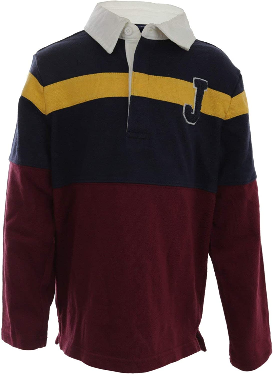 Janie and Jack Colorblocked Patch Rugby Shirt Polo - 5 - Burgundy