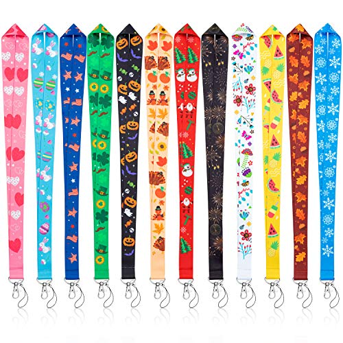 WATINC 12 Pcs Seasonal Holiday Lanyards for ID Badges, Flat Hall Pass Lanyards with Stainless Swivel Hook, Neck Office Cruise Lanyard for ID Holders, Multiuse, Gift for New Year Easter