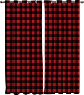 Window Treatments Curtains Room Window Panel Set for Living/Dining/Bedroom, Red and Black Buffalo Check Plaid 52 by 84 Inch, 2 Panels