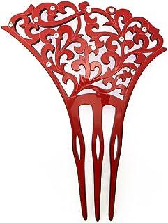 (ソウビエン) バチ型簪 赤 緋色 レッド 唐草 ラインストーン 透かし彫り 三本足 髪飾り かんざし フォーマル ヘアアクセサリー 日本製