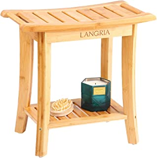 LANGRIA Bamboo Shower Bench Waterproof Wood Shower Chair, Spa Bath Organizer Seat Stool with Rubber Feet Hanging Rods for Indoor or Outdoor Bathroom Shower Seat (18.20x9.80x18.80)
