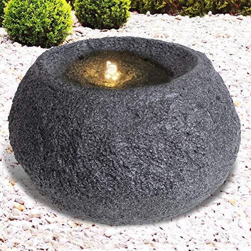 Gartenbrunnen Brunnen Zierbrunnen Zimmerbrunnen Springbrunnen Brunnen 230V Wasserfall Wasserspiel für Garten, Gartenteich, Terrasse, Balkon Sehr Dekorativ (Granit QUELLSTEIN dunkel)