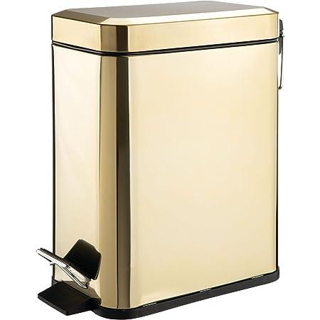 mDesign poubelle sous évier capacité 5L – poubelle à pédale compacte avec réceptacle intérieur pour cuisine, bureau, salle de bain – corbeille à papier moderne en métal et plastique – couleur laiton