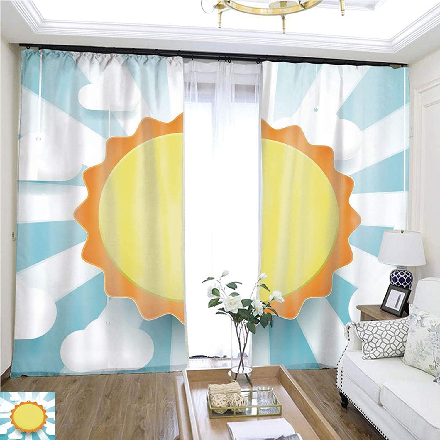 Air Port Screen Cute Sun and Clouds Background Paper Art and Craft Style W96 x L300 Block The Sun Highprecision Curtains for bedrooms Living Rooms Kitchens etc.