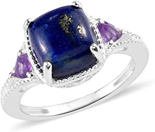 925 Sterling Silver Lapis Lazuli Amethyst Statement Ring for Women Jewelry Gift