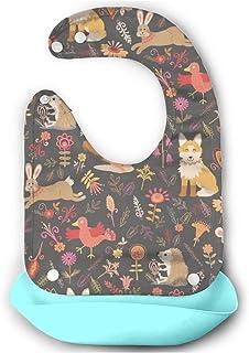 森林動物(3) 【お食事エプロン シリコン】 シンプルで可愛いパステ 丸めて持ち運びが便利 防水仕様 食事用 スタイ 赤ちゃんエプロン