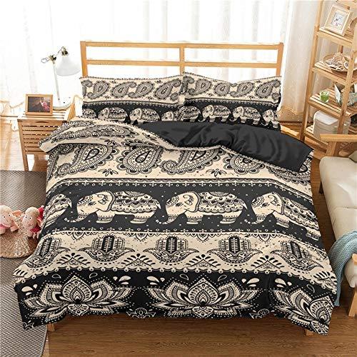 Duvets Duvet Covers Bedding Bohemian Bedding Set King Queen Size Quilt Cover Pillowcase Boho Elephant Bed Linen Bedclothes Home Textile Chihen1123 (Color : 6, Size : US King 264x228cm)