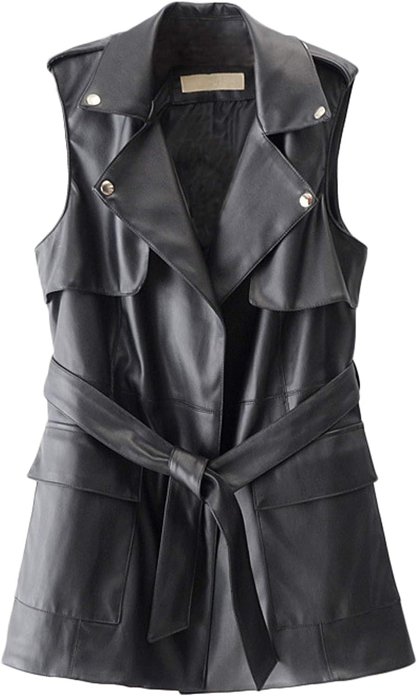 Youhan Women's Lapel Belted Faux Leather Vest Waistcoat