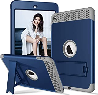 PIXIU Case for iPad Mini 5th / 4th Generation, Three Layer Armor Shockproof Rugged Protective Hybrid Cover Cases Built with Kickstand for iPad Mini 5 2019/mini 4 2015 Navy Blue
