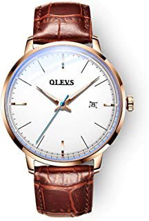 OLEVS Automatic Mechanical Watch for Men, 42mm Fashion Ultra Thin Waterproof with Brown Leather Band Wrist Watches