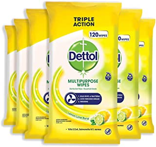 Dettol Multi Purpose Antibacterial Disinfectant Surface Cleaning Wipes Lemon, 720 Count, Pack of 6