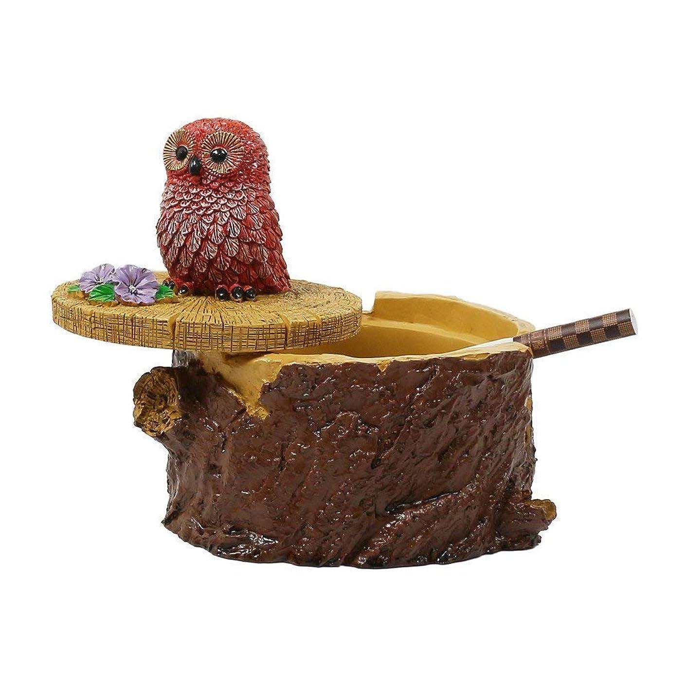 ペグ九ピジンタバコのための屋外灰皿家庭と庭のための蓋のかわいい樹脂フクロウの灰皿