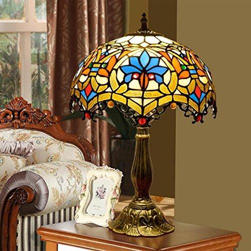 LGHT Europäische Tiffany Farbiges Glas Wohnzimmer Tischlampe Schlafzimmer Restaurant Bar Tischlampe Bett Nachttischlampen, Diameter 30cm